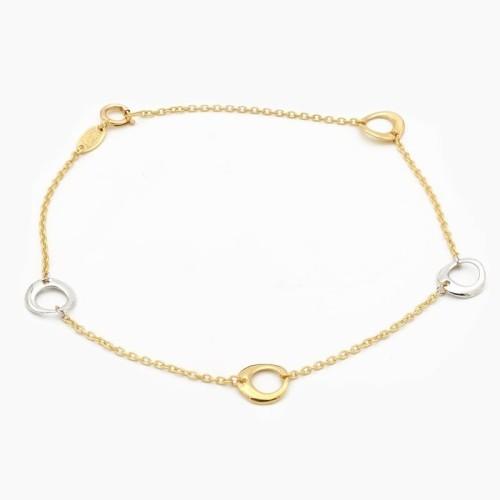 Pulsera de círculos en oro bicolor - 0793