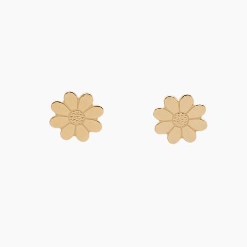 Pendientes de oro en forma de flor - 1035