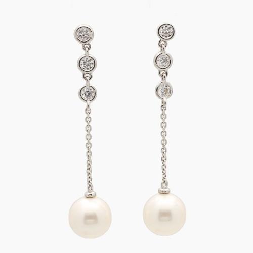 Pendientes largos de oro con circonitas y perlas - 5035 - 1