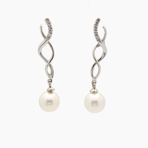 Pendientes largos de oro blanco, circonitas y perlas - 0235 - 1