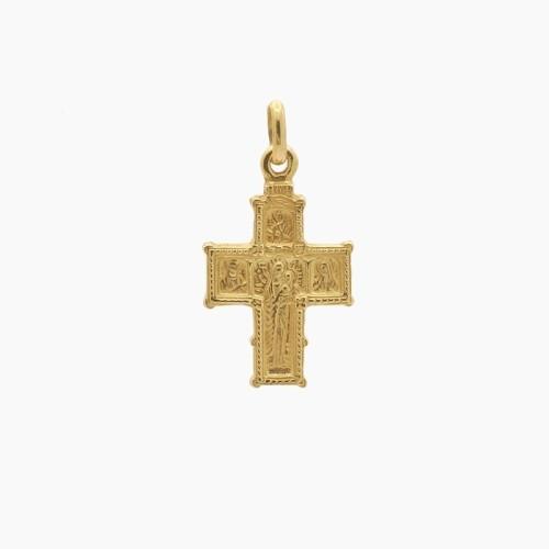 Cruz bizantina de oro amarillo - 6640