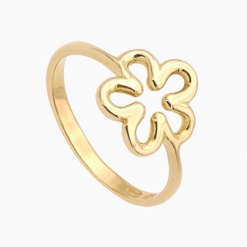 Sortija en oro con diseño de flor - 0340 - 1
