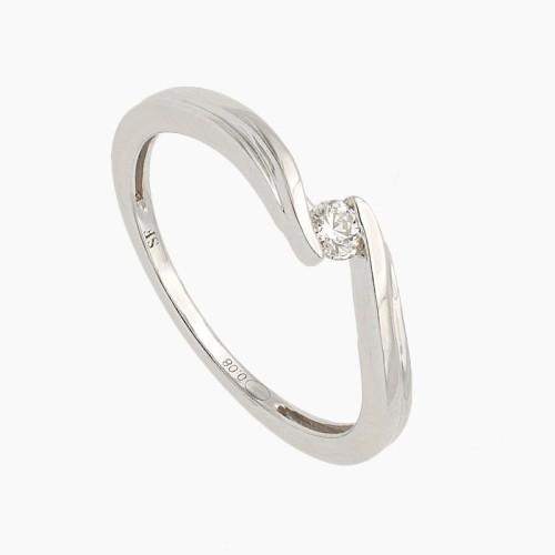 Solitario cruzado de oro y diamantes - 8002 - 1
