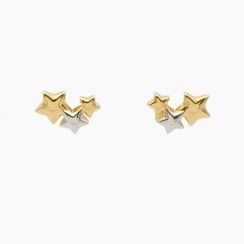 Pendientes de oro amarillo y blanco - 0808 - 1