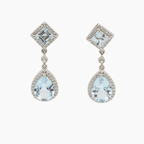 Pendientes con aguamarinas y diamantes - 22A3 - 1