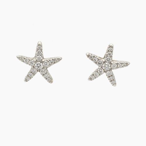Pendientes estrella de mar con diamantes - B300 - 1