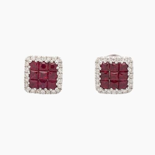 Pendientes en oro blanco, rubíes y diamantes - 1