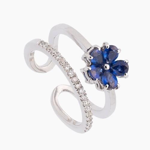 Sortija con flor de zafiros y diamantes - 1