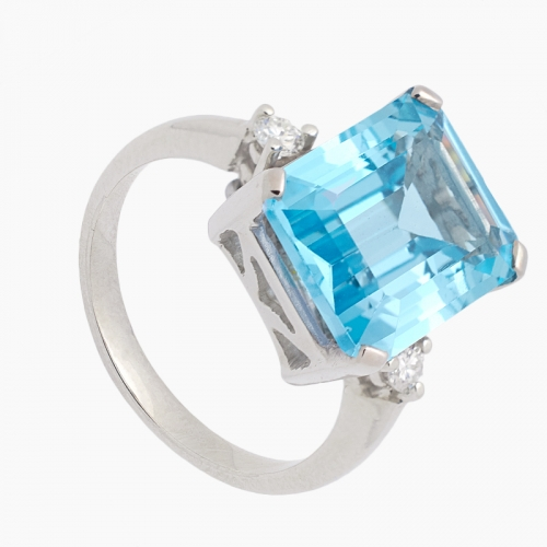 Sortija con topacio azul y diamantes - 1