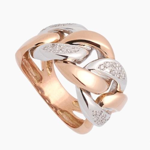 Sortija de oro bicolor con diamantes - 1
