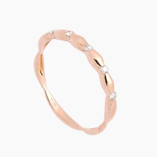 Sortija de oro rosa con diseño en ondas y diamantes - 1