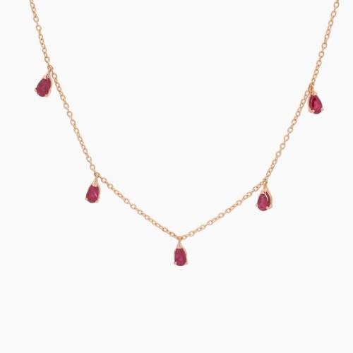 Gargantilla de oro con cinco rubíes - 1