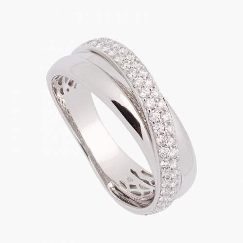 Sortija de oro blanco y diamantes - 7044 - 1