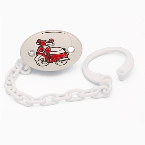 Pinza portachupetes en plata con moto - 1