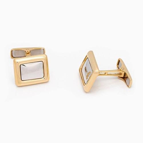 Gemelos rectangulares en oro amarillo y blanco - 1