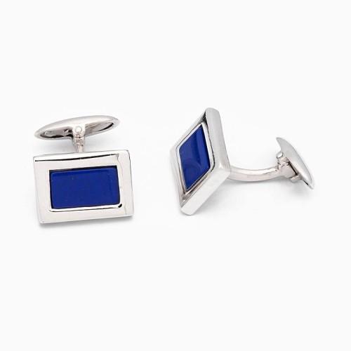 Gemelos de plata y lapislázuli de forma rectangular - 1