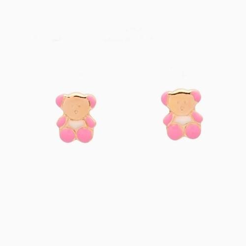 Pendientes de bebé en oro y esmalte en forma de osito - 1