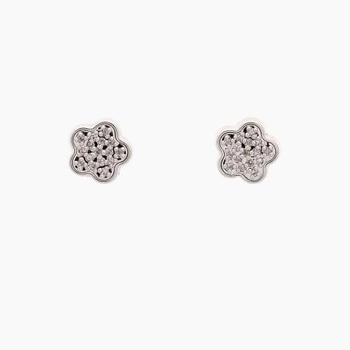 Pendientes flores de oro blanco y diamantes - 1