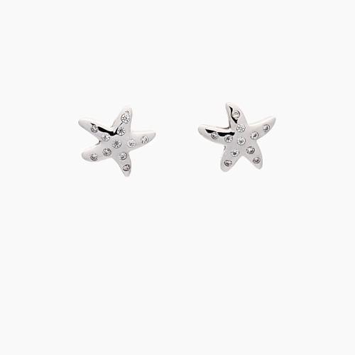 Pendientes estrellas de mar en oro blanco y diamantes - 1