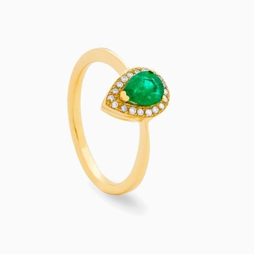 Sortija de esmeralda central y corona de diamantes - 1