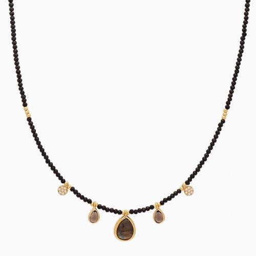Gargantilla en plata de ley con baño de oro amarillo y piedras naturales - 1