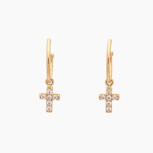 Pendientes de oro amarillo con cruces y circonitas - 1