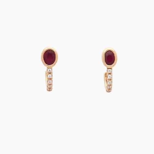 Pendientes de oro con rubíes y circonitas - 1