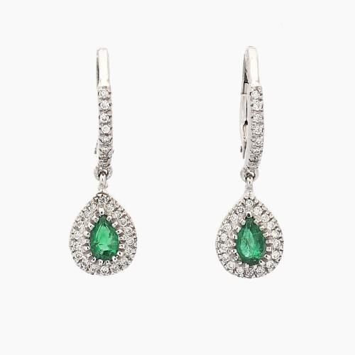 Pendientes de oro blanco, esmeraldas y diamantes - 1