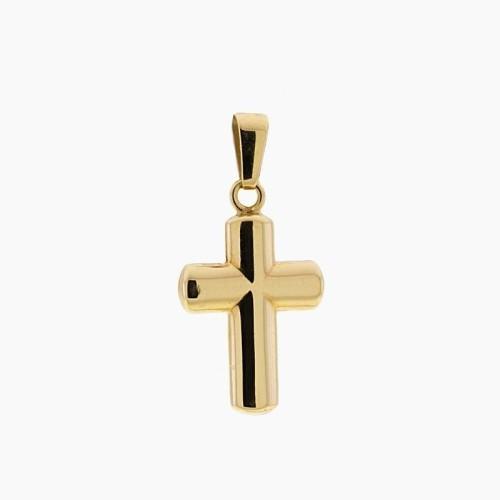 Cruz de oro liso en brillo